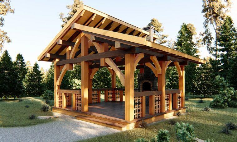 варианты деревянных беседок для загородного дома